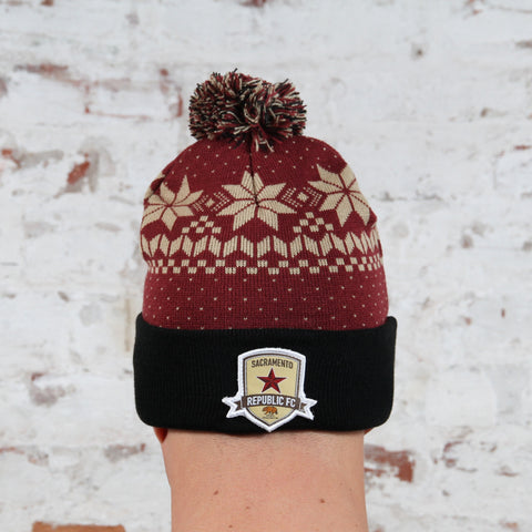 Fair Isle Pom Beanie by Official Brand