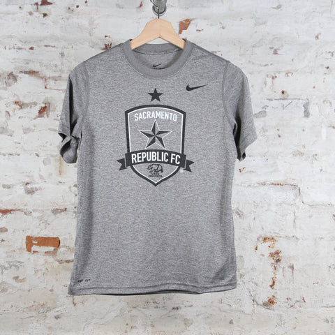 Youth Nike Legend Poly SS Tee in Carbon Heather