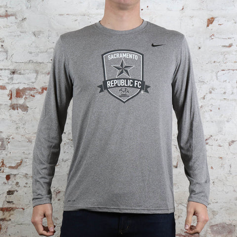 Men's Nike Legend Poly LS Tee in Carbon Heather