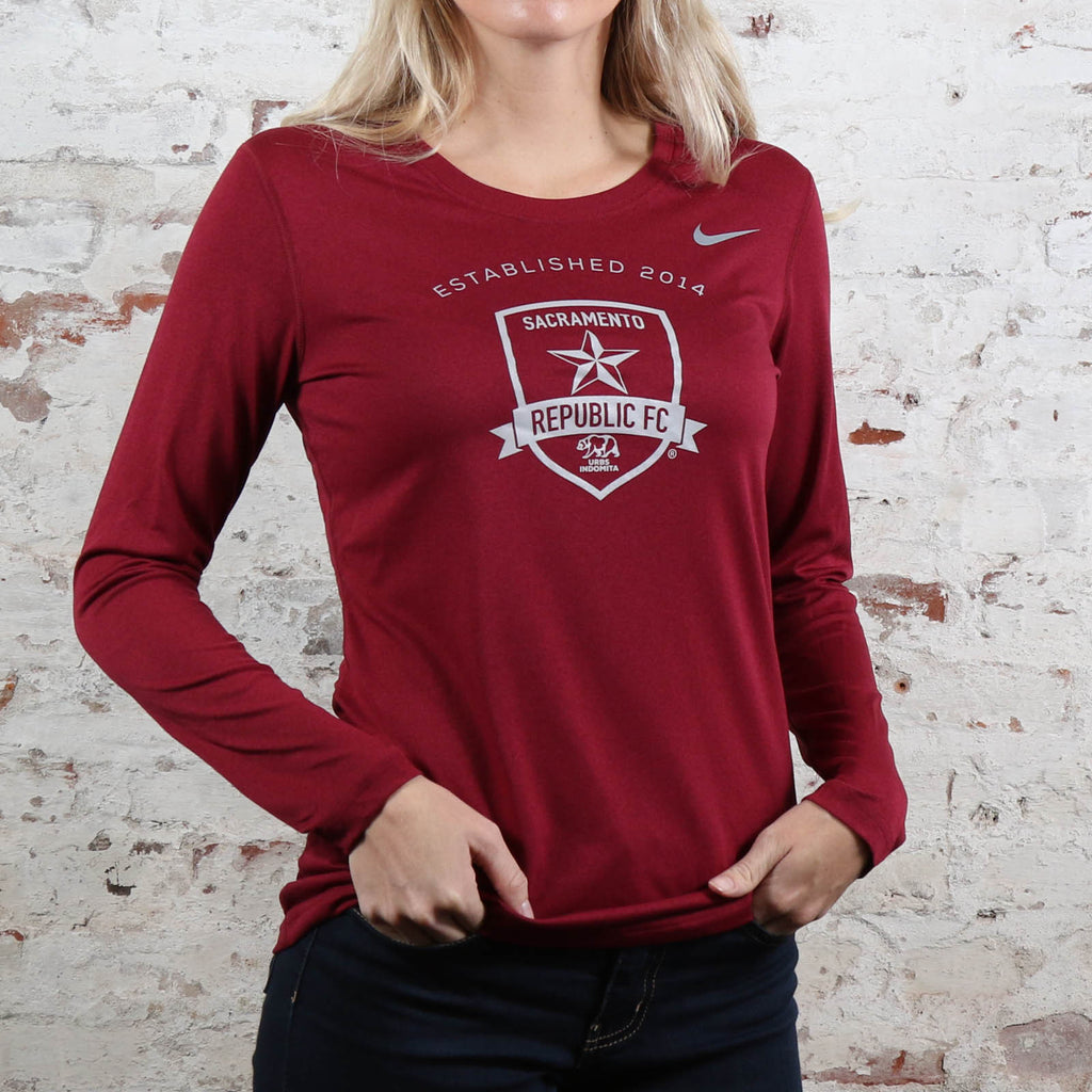 Women's Nike Legend Poly LS Tee in Cardinal