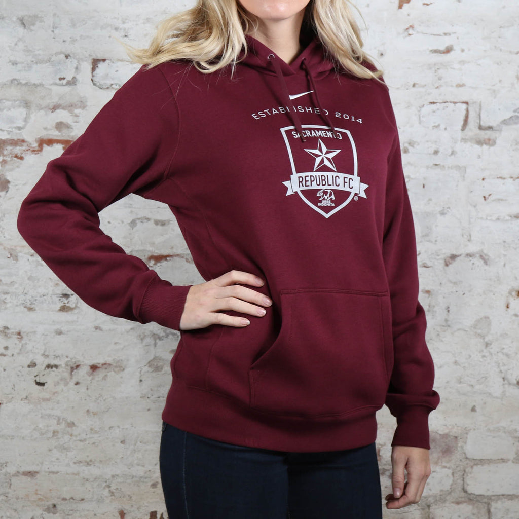 Women's Nike Team Club Fleece Hoodie in Deep Maroon