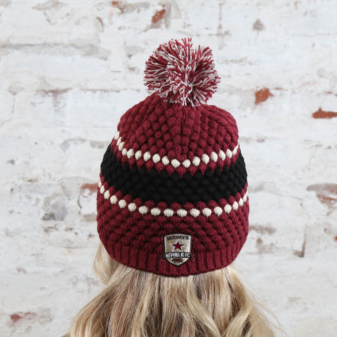 Women's Leslie Pom Beanie in Cardinal by '47