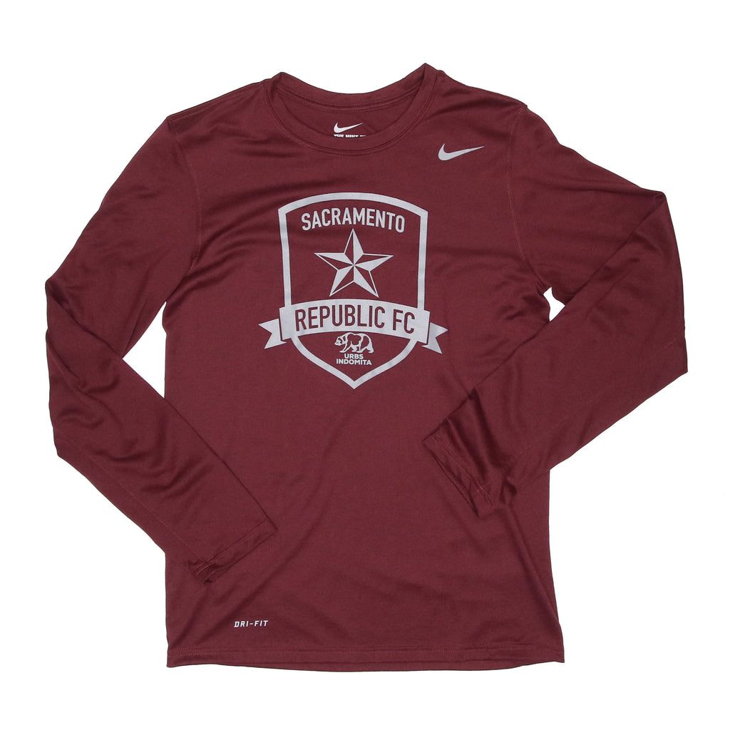 2020 Men's Nike Team Legend LS Crew in Deep Maroon