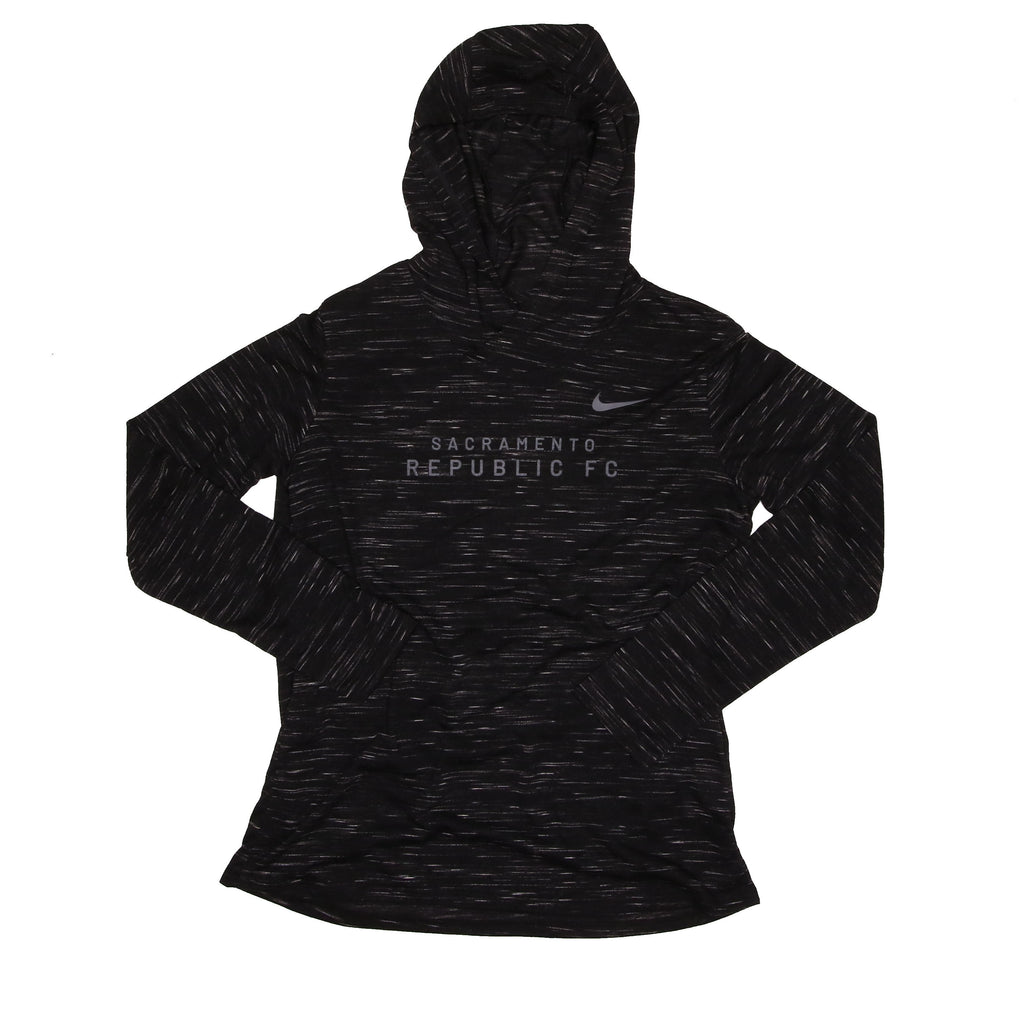 2020 Women's Nike Legend Veneer LS Hoodie in Black Heather