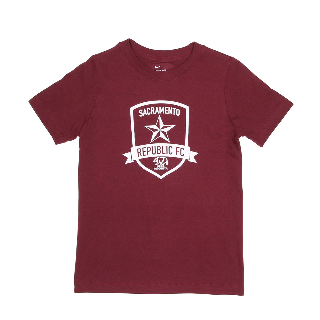 Core Cotton Crew in Deep Maroon for Kids