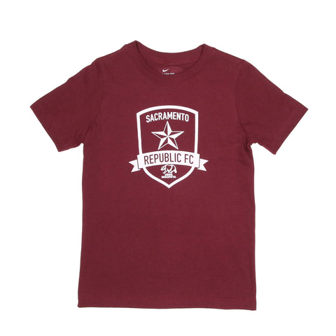2020 Youth Nike Core Cotton Crew in Deep Maroon