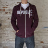 Adult Old Glory Red Zip Hoodie with Applique