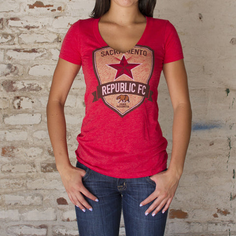 Women's Pencil Crest Tee - Vintage Red