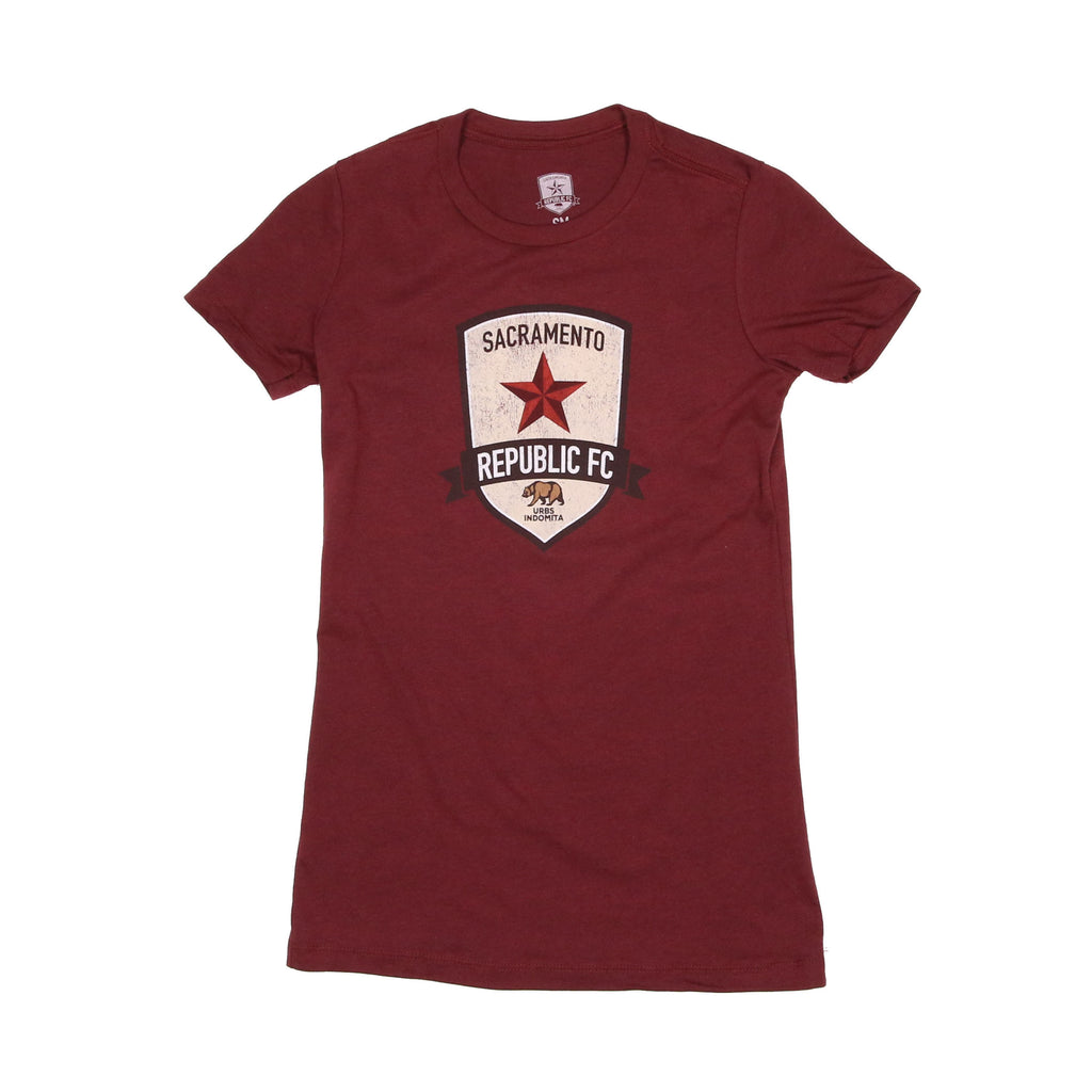 Women's Distressed Crest Tee in Heather Cardinal