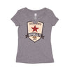 Women's Distressed Crest Tee in Heather Gray