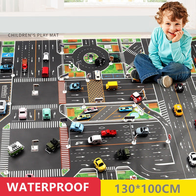 Large Waterproof City Traffic Car Park Play Mat