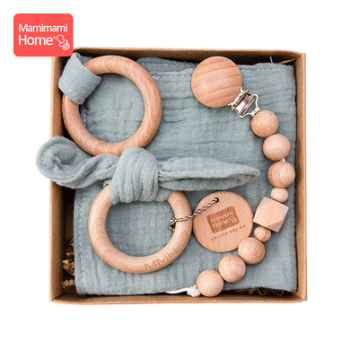 Wooden Teether Pacifier Clip Bib Ring Rattle Toy Set