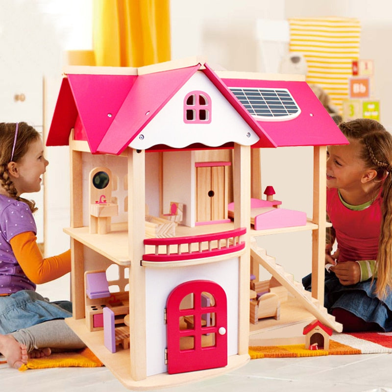 Wooden Doll House Toy Set