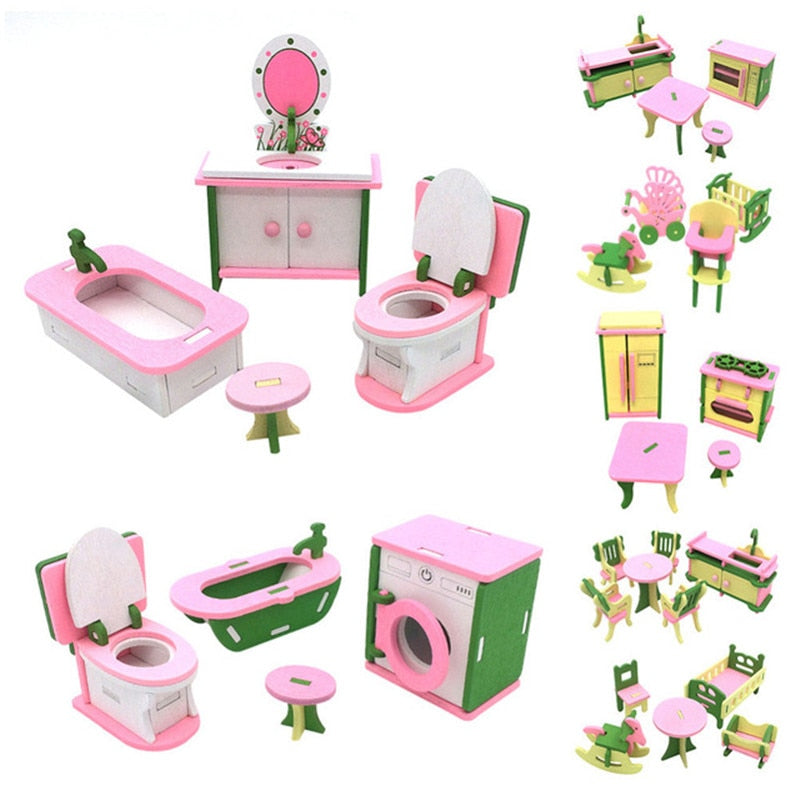 Wooden Miniature Furniture Dollhouse Accessory Toys