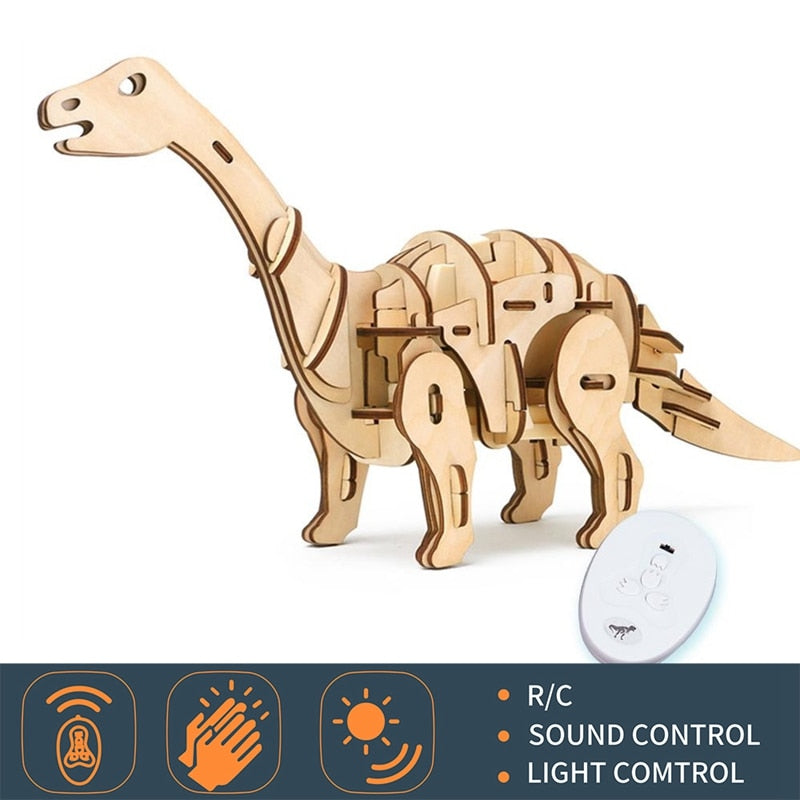 DIY Remote/Sound Control Wooden Walking Roaring Dinosaur