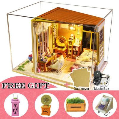 DIY Lighted Wooden House Room Dollhouse with Music Box