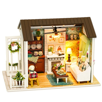 DIY Lighted Wooden Classic Dollhouse With Furniture