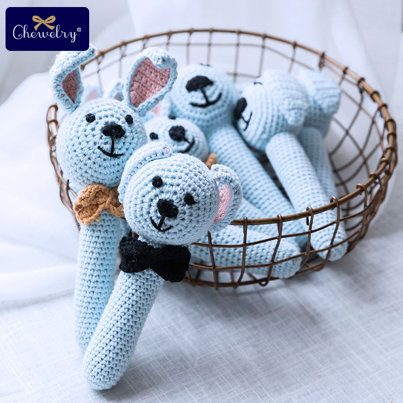Handmade Baby Animal Crochet Wooden Rattle Teether