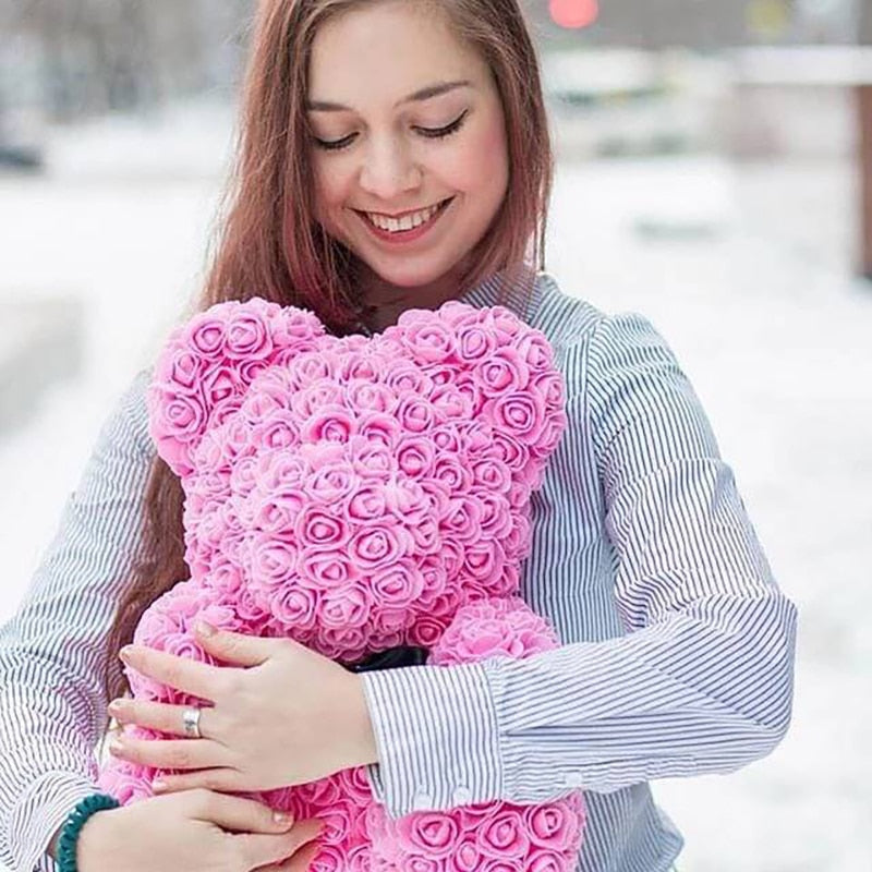 40CM Rose Foam Flower Teddy Bear