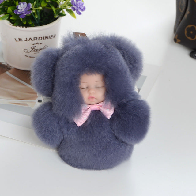 Cute Sleeping Baby Doll Rabbit Fur Fluffy Keychain