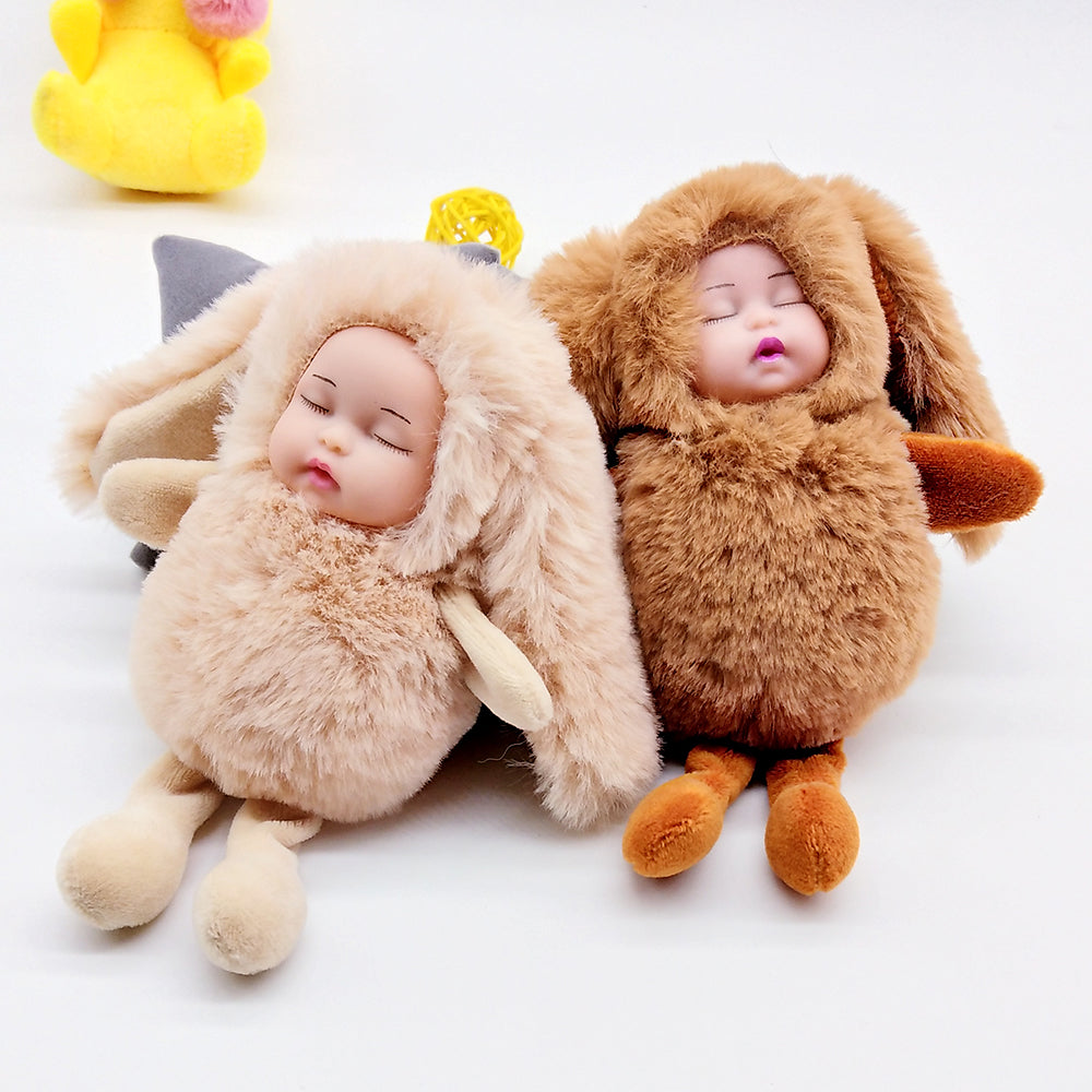 Sleeping Baby Doll Rabbit Ear Keychain