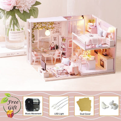 DIY Lighted Wooden Princess Suite Dollhouse with Music Box