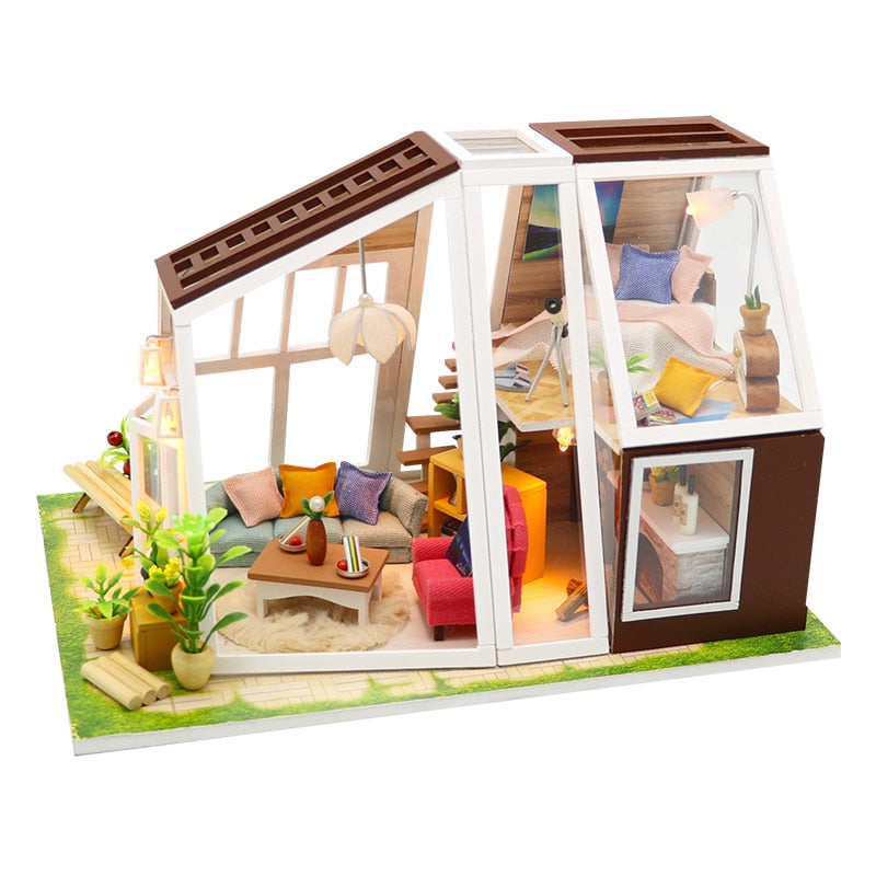 DIY Lighted Wooden Studio Dollhouse