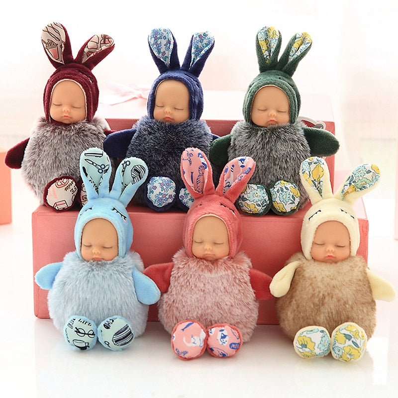 Rabbit Bear Sleeping Baby Doll Keychain