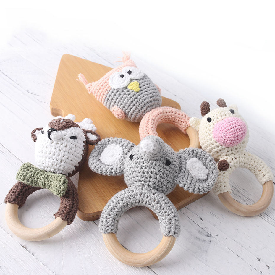 Handmade Baby Animal Wooden Ring Teether