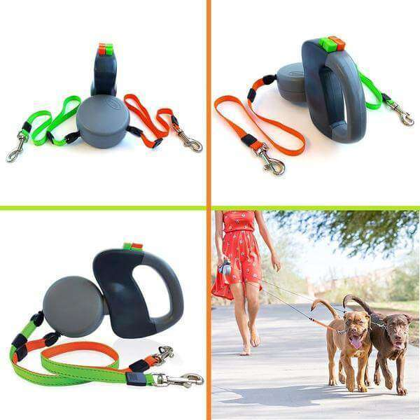 Retractable Rotating Double Dog Leash - Pawsky Pets