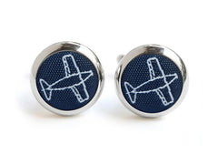 aeroplane cufflinks navy & white