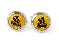 cyclist cufflink yellow