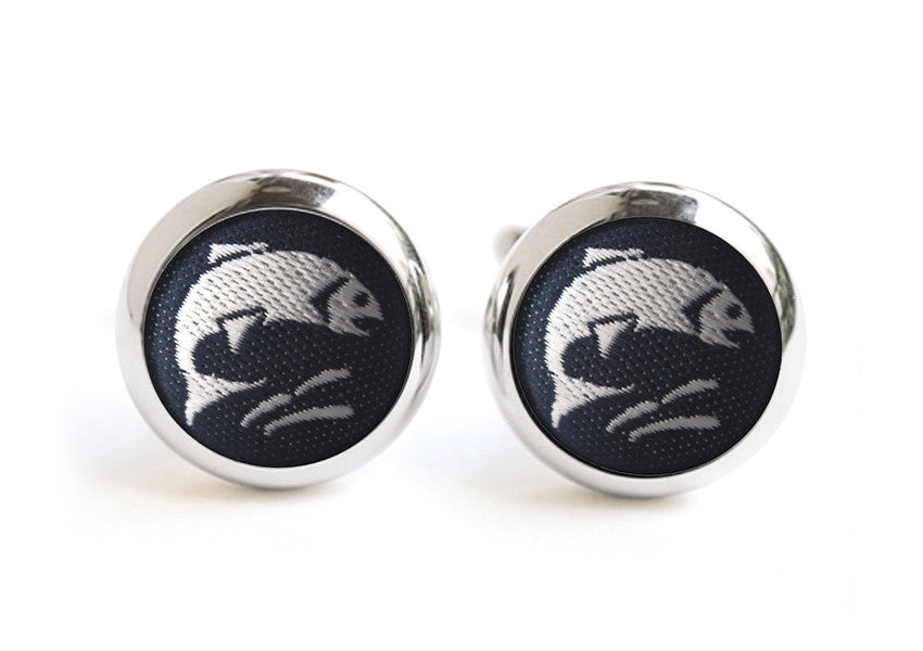 fish cufflinks navy & white