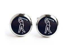 golf cufflinks black & white