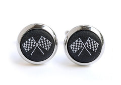 grand prix cufflinks black & white