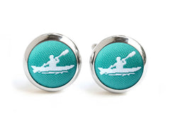 kayak cufflinks green & white