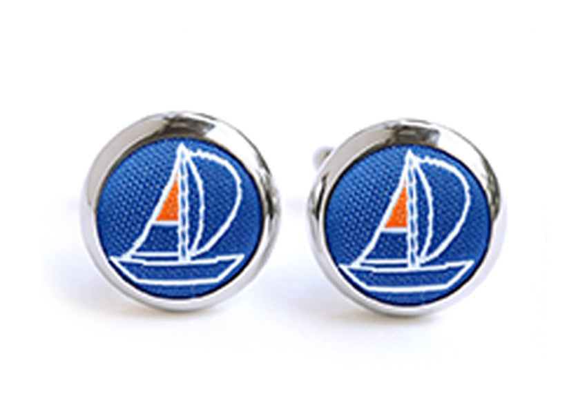 sailing cufflinks blue & orange