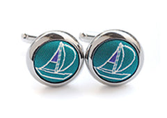 sailing cufflinks green & purple