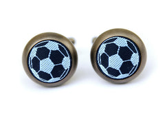 soccer cufflinks matte metal black & white