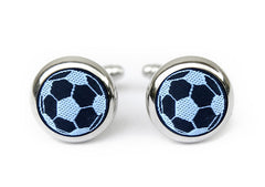 soccer cufflinks black & white