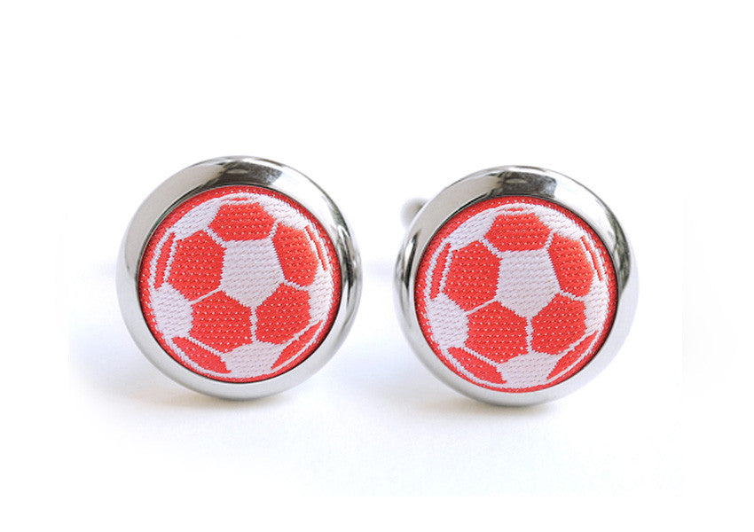 soccer cufflinks red & white