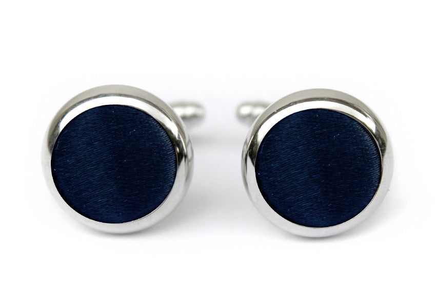 solid satin cufflinks black