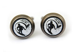 surf cufflinks matte metal black & white