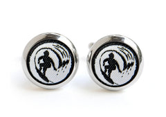 surf cufflinks black & white