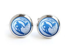 surf cufflinks blue & white