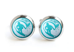 surf cufflinks teal & white