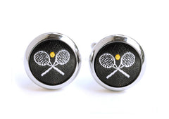 tennis cufflinks black & white