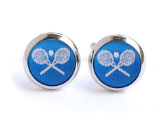 tennis cufflinks blue & white