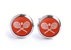 tennis cufflinks red & white