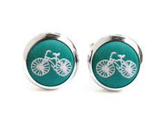 bike cufflink green & white